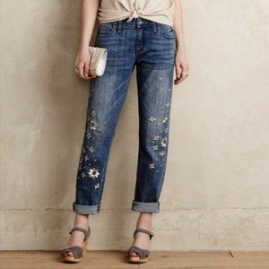 Pilcro And The Letterpress Hyphen Fit Metallic Bloom Embroidered Jeans